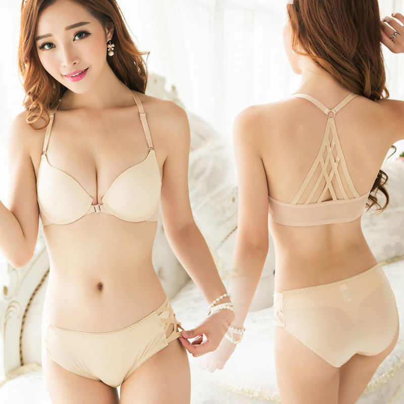 ... Victoria Sexy Front Closures Bra Set Seamless Strappy Crossback Caged  Bralette Set Push Up Y- ... edaf30eb2