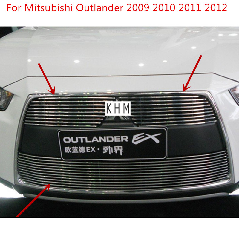 For Mitsubishi Outlander 2009 2010 2011 2012 High quality Aluminium alloy Front Grille Around Trim Racing Grills Car-styling abs chrome grille trim around racing grills light bar trim for mitsubishi asx 2010 2012