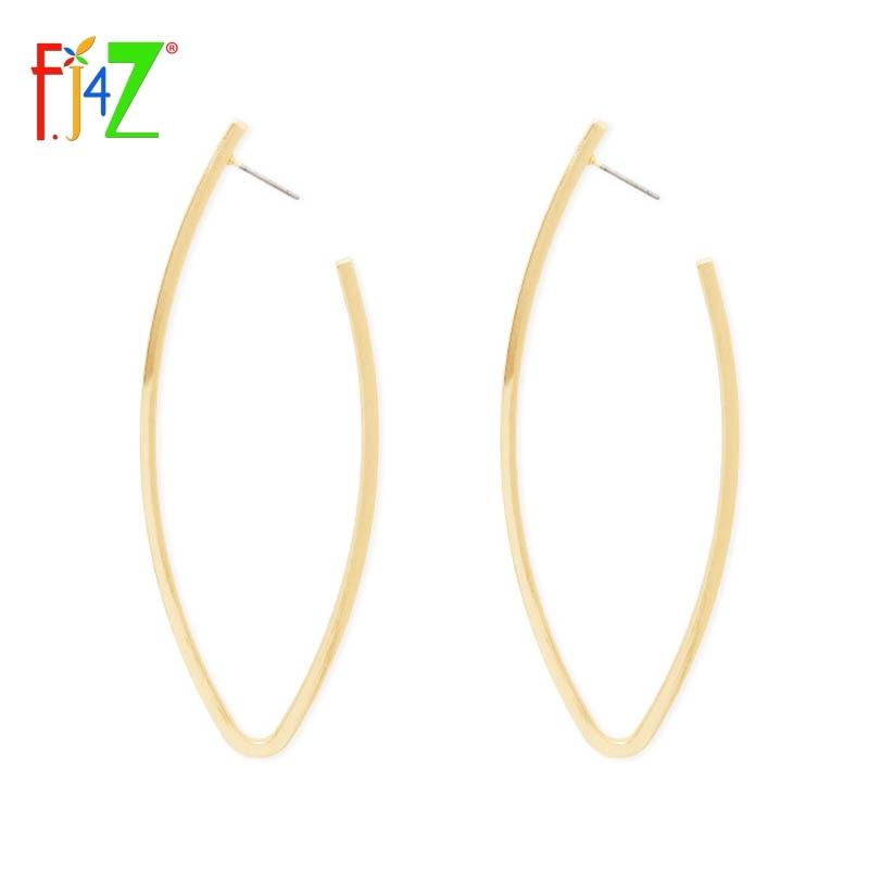 F.J4Z 2017 mode lange oorbellen voor vrouwen gouden metalen ovale - Mode-sieraden