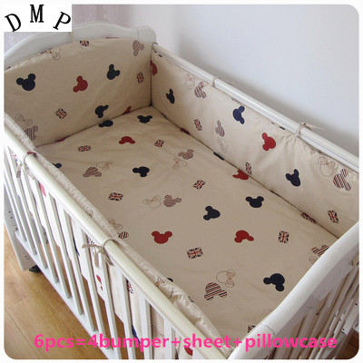 Promotion! 6pcs Cartoon Crib Baby Bedding Set Boy Newborn Baby Bed Linens 100% Cotton,include (bumper+sheet+pillow cover)