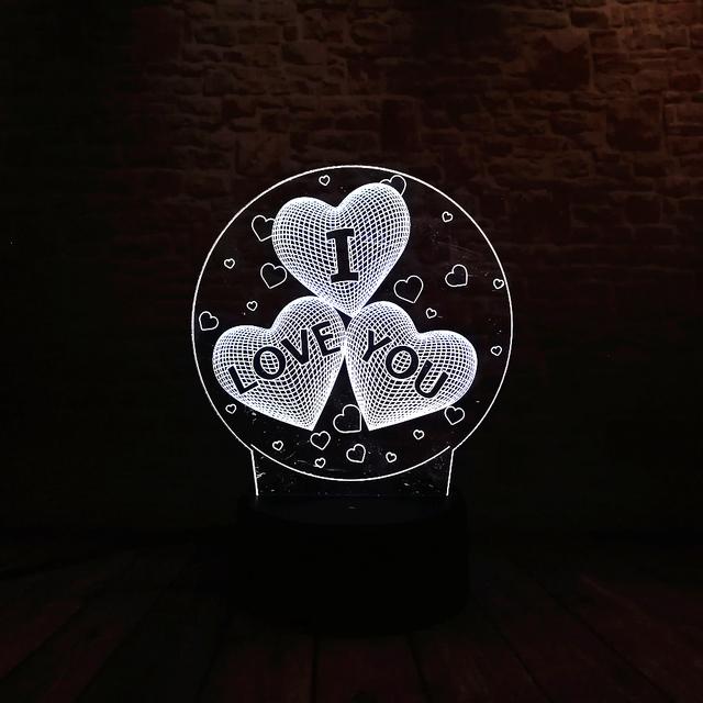 3D LED Hologram – Romantické Nočné svetlo – I love you LED Night Light