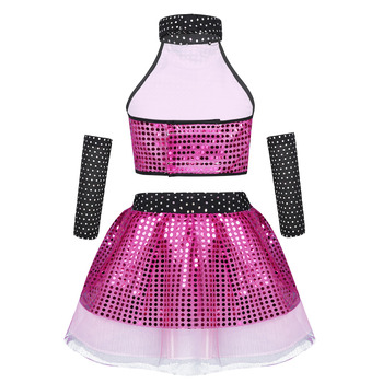 ChicTry Kids Shiny Sequins Jazz Waltz Modern Dance Wear Girls Crop Top with Mesh Tutu Dress Stage Performance Dance Costumes Set