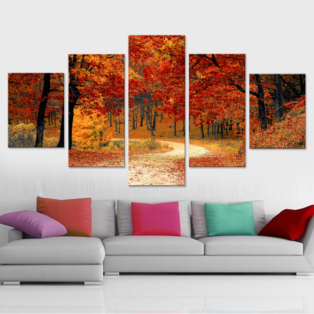 Colorful Leaves Autumn Home Decor Room HD Canvas Print Picture Wall Art Painting