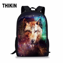 THIKIN Men School Bags Cool Animals Galaxy Fox Wolf Book Bag 3D Children Boys Backpack Larger Men's Travel Bag Welcome Dropping все цены