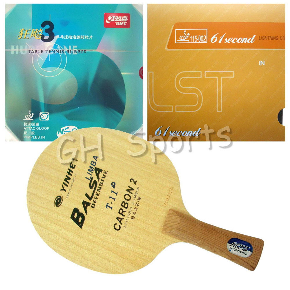 Pro Table Tennis PingPong Combo Racket Galaxy T-11+ with 61second Lightning DS LST and DHS NEO Hurricane 3 Long Shakehand FL