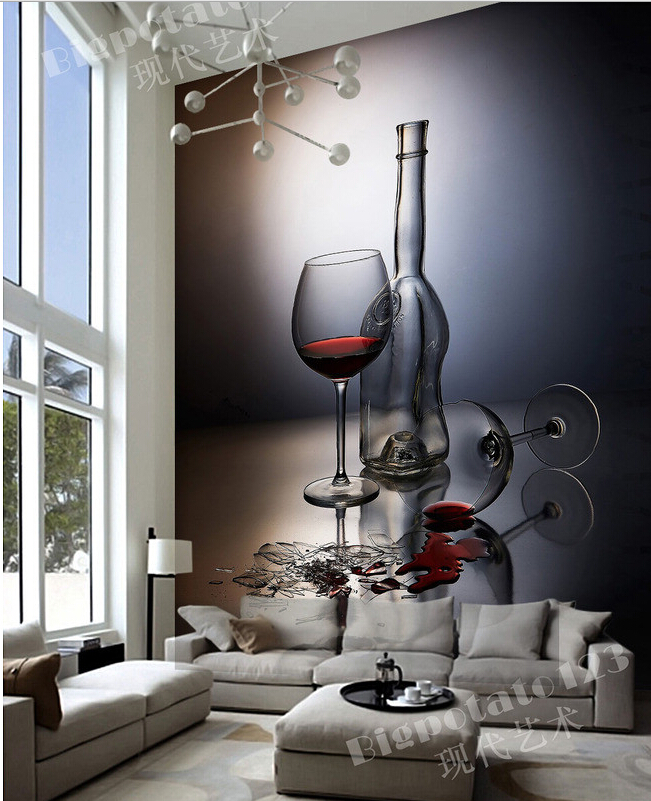 Custom 3D large murals,red wine goblet glass photography , living room sofa TV wall bedroom background wall paper whirlpool adpf 872