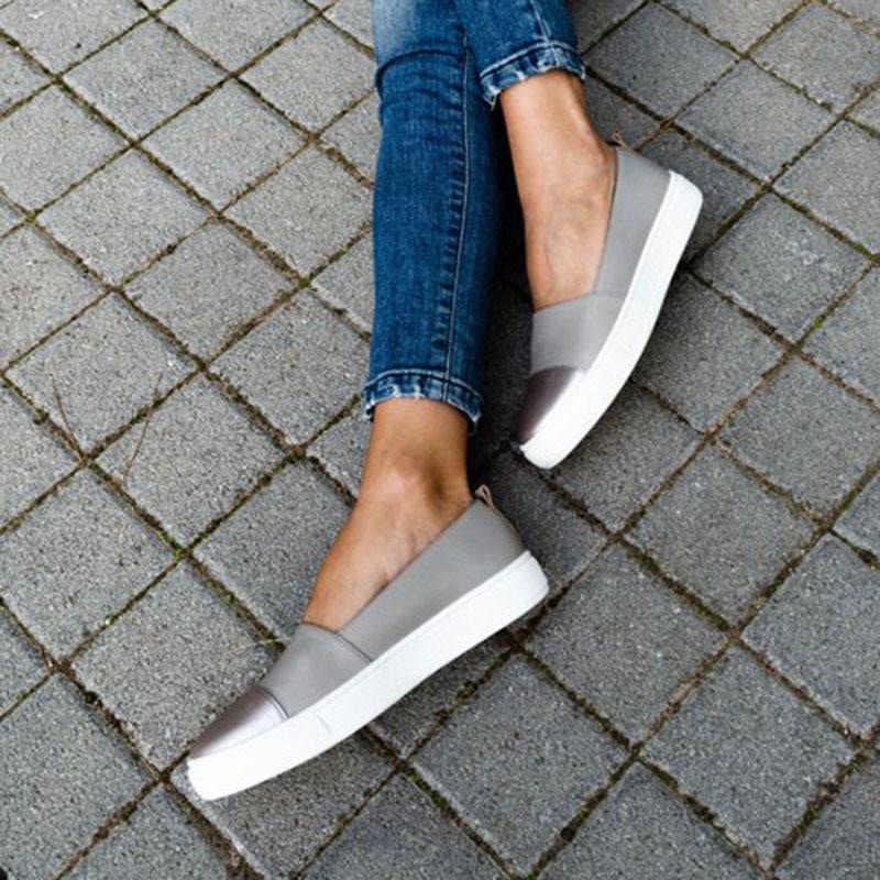 Kadınlar vulkanize ayakkabı üzerinde kayma düz ayakkabı bayanlar PU rahat Platform sığ yürüyüş spor ayakkabı kadın moda rahat tek ayakkabı