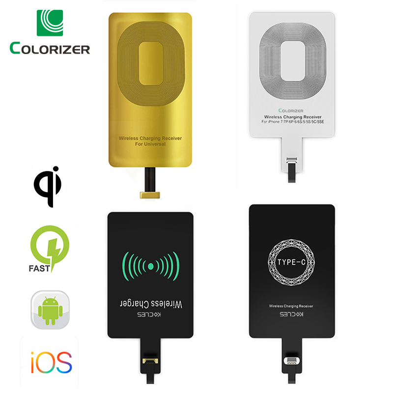 Récepteur de charge sans fil Qi pour iPhone 7 6s Plus 5s Micro USB type C chargeur sans fil rapide universel pour Samsung Huawei Xiaomi