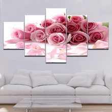 Modern Frame Art HD Printed 5 Pieces Pink Beautiful Roses Flowers Painting Modular Poster Decor Living Room Wall Canvas Pictures