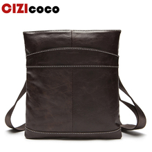 New Male Bag Genuine Leather Messenger Bag Men Leather Shoulder Bags Small Casual Crossbody Bags Mini Ipad Flap 703 недорого