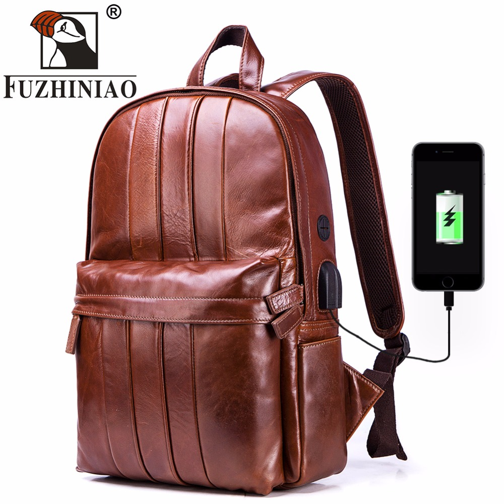Multifunction USB charging Men 14inch Laptop Backpacks For Fashion Male Leisure Genuine Leather Travel Backpack Brands Design