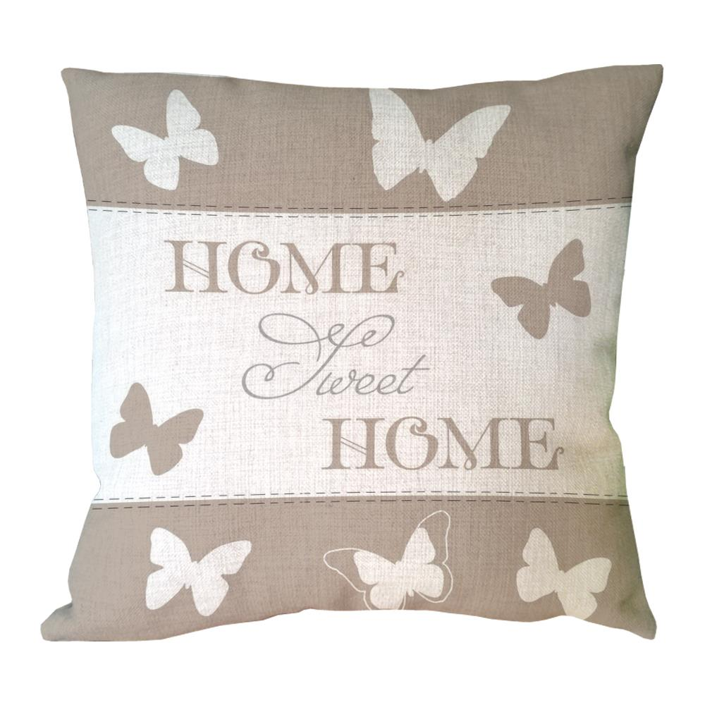 letter sweet home with butterfly printed custom throw pillow case decorative cotton linen ...