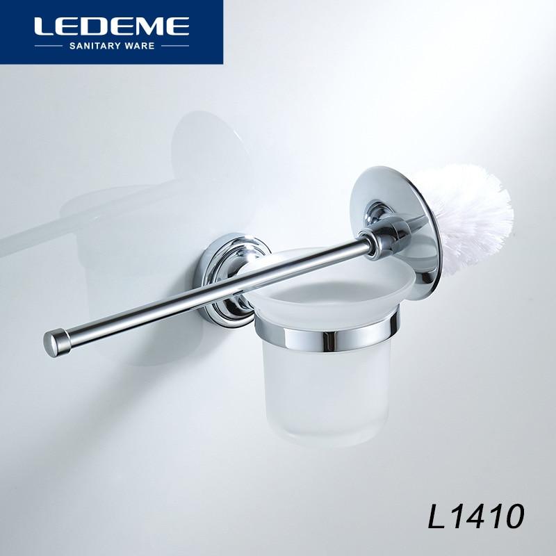 LEDEME Toilet Brush Holders Stainless Steel Plastic Holder Toilet Brush Bathroom Cleaning Tool Holder With Glass Cup L1410