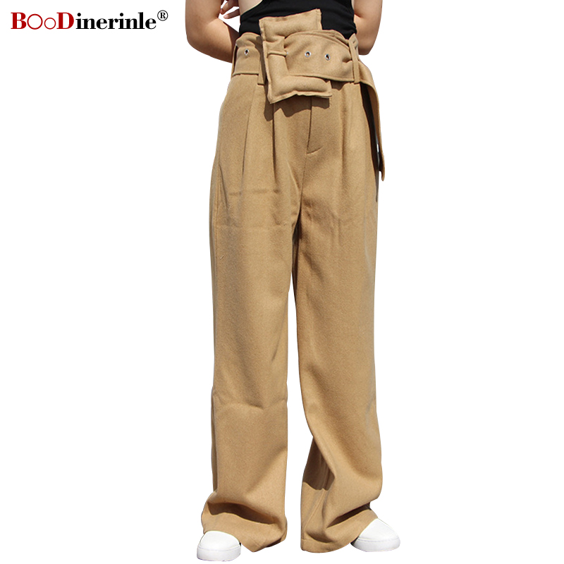 BOoDinerinle New Woolen   Pants   For Women Stylish Slim Office Lady High Waist Trousers Female Khaki Big Belt   Wide     Leg     Pants   KZ036
