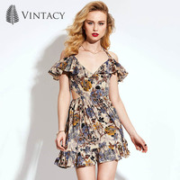 Vintacy Floral Dress Cotton V Neck Ruffles Mini Short Halter Women Summer Dress 2017 Vintage Print