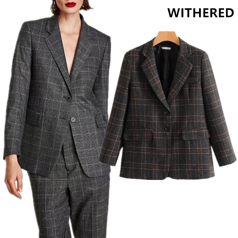 Withered blazer feminino england style street fashion plaid vintage casual notched women women blazers and jackets plus size top