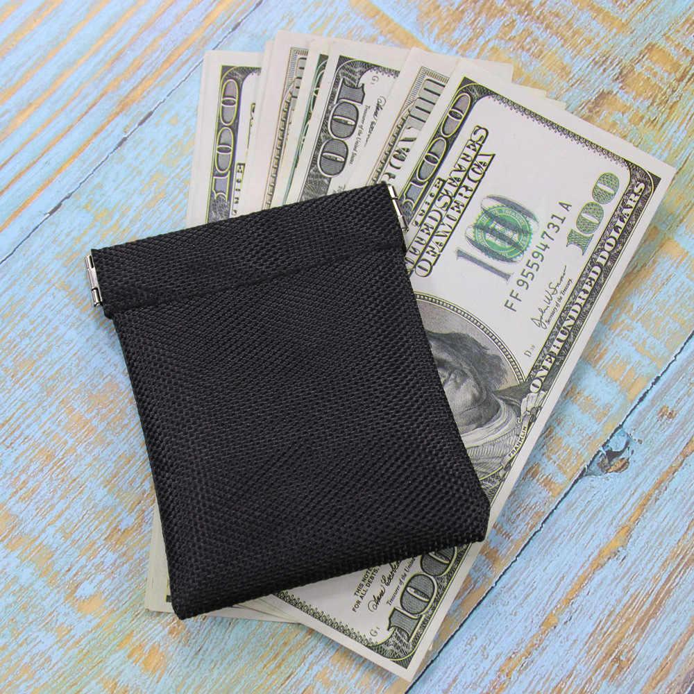 Novo Aperto Quadro Bolsa Da Moeda Da Carteira Dos Homens Das Mulheres Mini Curto Mudança Dinheiro Titular do Cartão Saco De Fone De Ouvido À Prova D' Água Portátil Preto Sólido