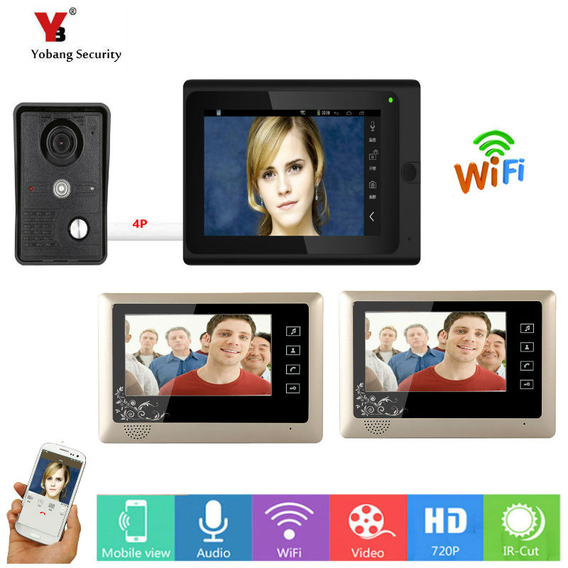 Yobang Security 3*7inch Wireless/Wired Wifi IP Video Door Phone Doorbell Intercom Entry System With 1 Wired Camera Night Vision