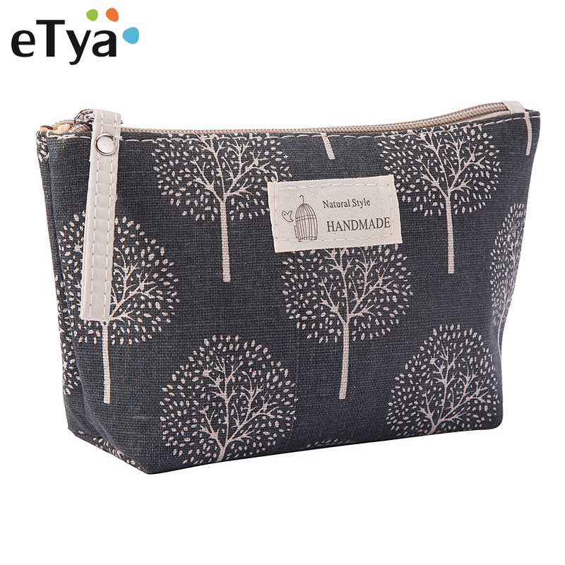 eTya Women Plaid Travel Cosmetic Bag Makeup Bags Handbag Female Zipper Purse Small Make Up Bags Travel Beauty Organizer Pouch(China)