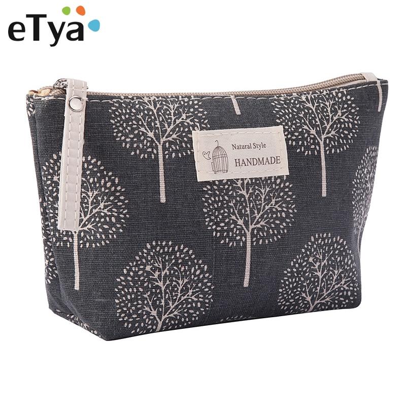 ETya Women Travel Cosmetic Bag Plaid Zipper Makeup Bag Phone Coin Money Handbag Female Purse Make Up Bags Beauty Organizer Pouch