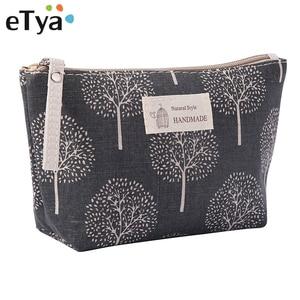 eTya Women Travel Cosmetic Bag Plaid Zipper Makeup Bag phone coin money Handbag Female Purse Make Up Bags Beauty Organizer Pouch(China)
