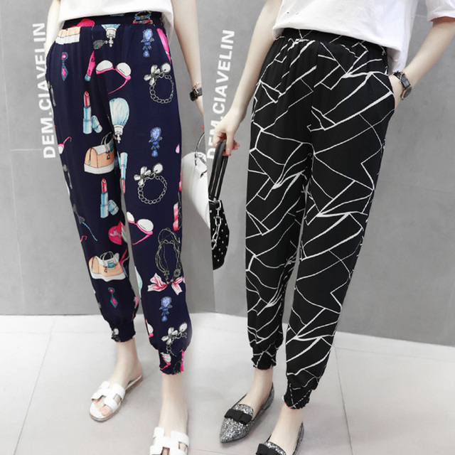 Popular 2018 spring summer fashion leisure bohemian  high waist wide-legged commuter women  Hallon pants print nine-cent pants