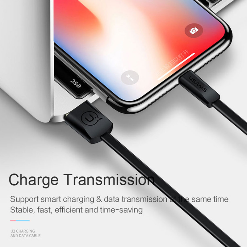 USAMS USB Cable for iPhone 8 cable Data Sync Flat Cable for iPhone XS MAX XR X 7 6 6s 5s SE 5 Cord Fast Charging Light wire in Mobile Phone Cables from Cellphones Telecommunications