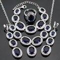 Gran Azul Oscuro Creado Sapphire Color Plata Sistemas de La Joyería Para Las Mujeres Colgante Collar Pulseras Pendientes Largos Anillos Caja de Regalo Libre