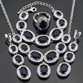 Huge Dark Blue Created Sapphire Silver Color Jewelry Sets For Women Necklace Pendant Bracelets Long Earrings Rings Free Gift Box