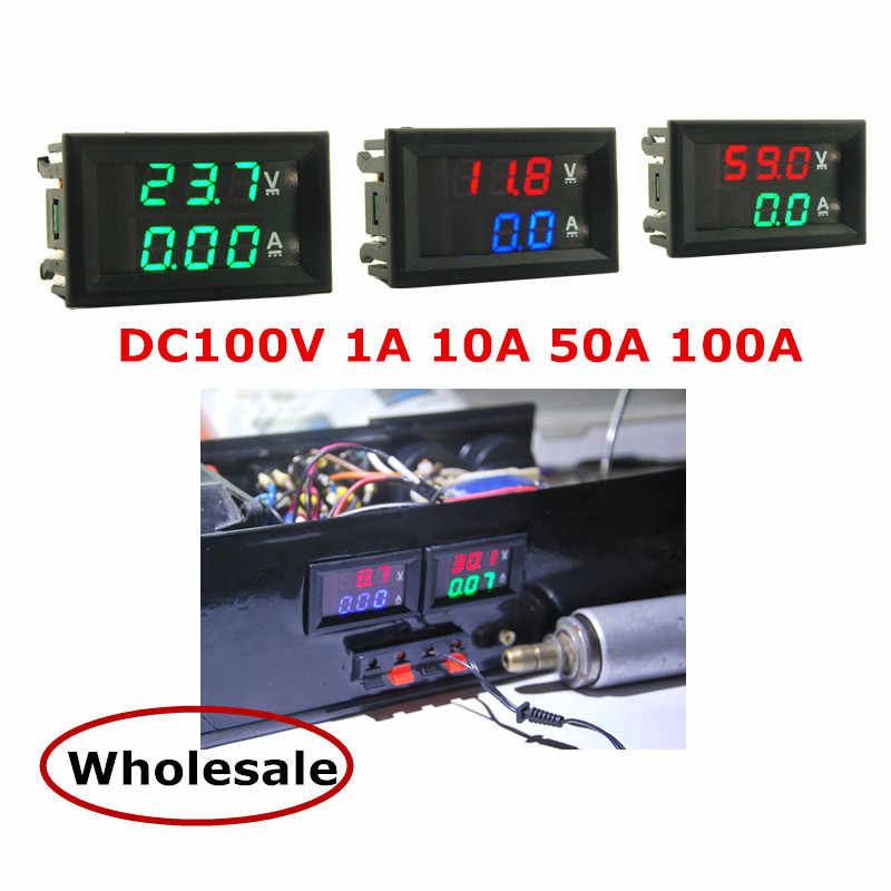 DC 100V 1A 10A 50A 100A Mini 0.28 cal LED DC woltomierz cyfrowy amperomierz Volt amperomierz amperomierz napięcie/amperymetro