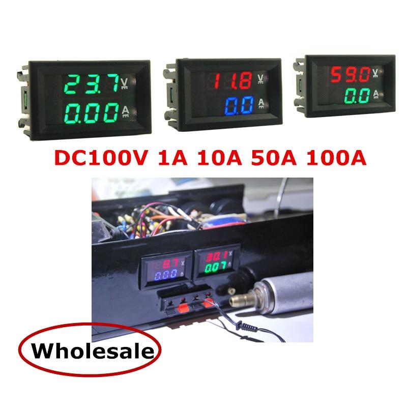 Цифровой мини-вольтметр, амперметр постоянного тока 100 в 1 а 10 А 50 А 0,28 а дюйма со светодиодной подсветкой, Вольтметр постоянного тока, амперм...