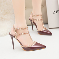 2019 Women Summer Gladiator 10cm High Heels Rivets Sandals Purple Burgundy Wedding Pumps Female Pink Valentine Studded Nude Shoe