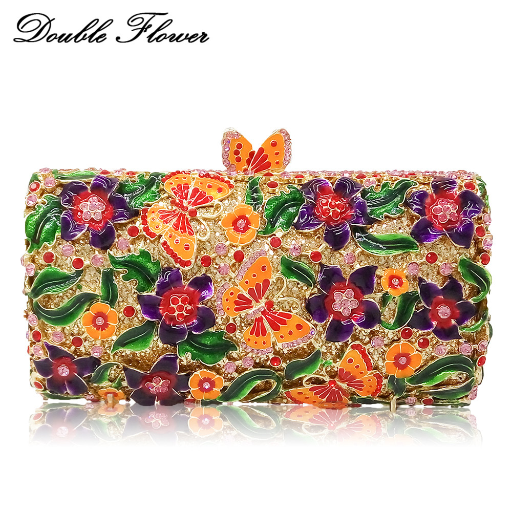 Double Flower Butterfly Floral Women Crystal Evening Handbags Hard Case Metal Wedding Clutches Bag Bridal Minaudiere