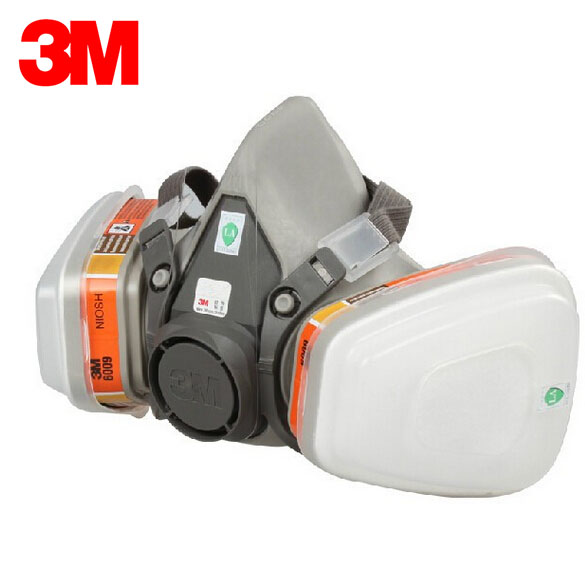 3M 6100+6009 Reusable Half Face Mask Respirator Mercury Organic Vapor Chlorine Acid Gas Cartridge Mask 7 Items for 1 Set E0000 3m 6300 6001 respirator half face mask painted against organic vapor gas cartridges 7 items for 1 set lt013