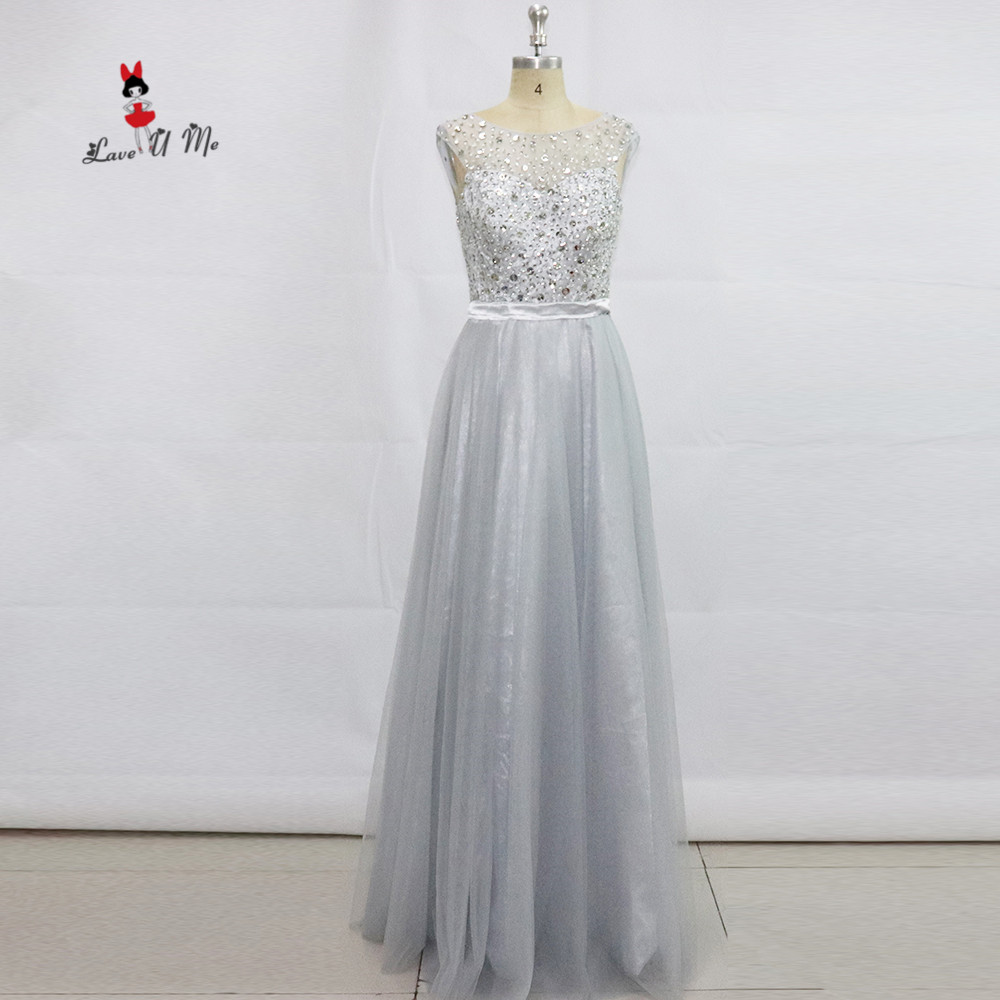 Generous Robe De Soiree 2017 Silver Evening Dresses Long Sparky Rhinestones Prom Party Dress Formal Evening Gowns Special Occasion Noche Special Summer Sale
