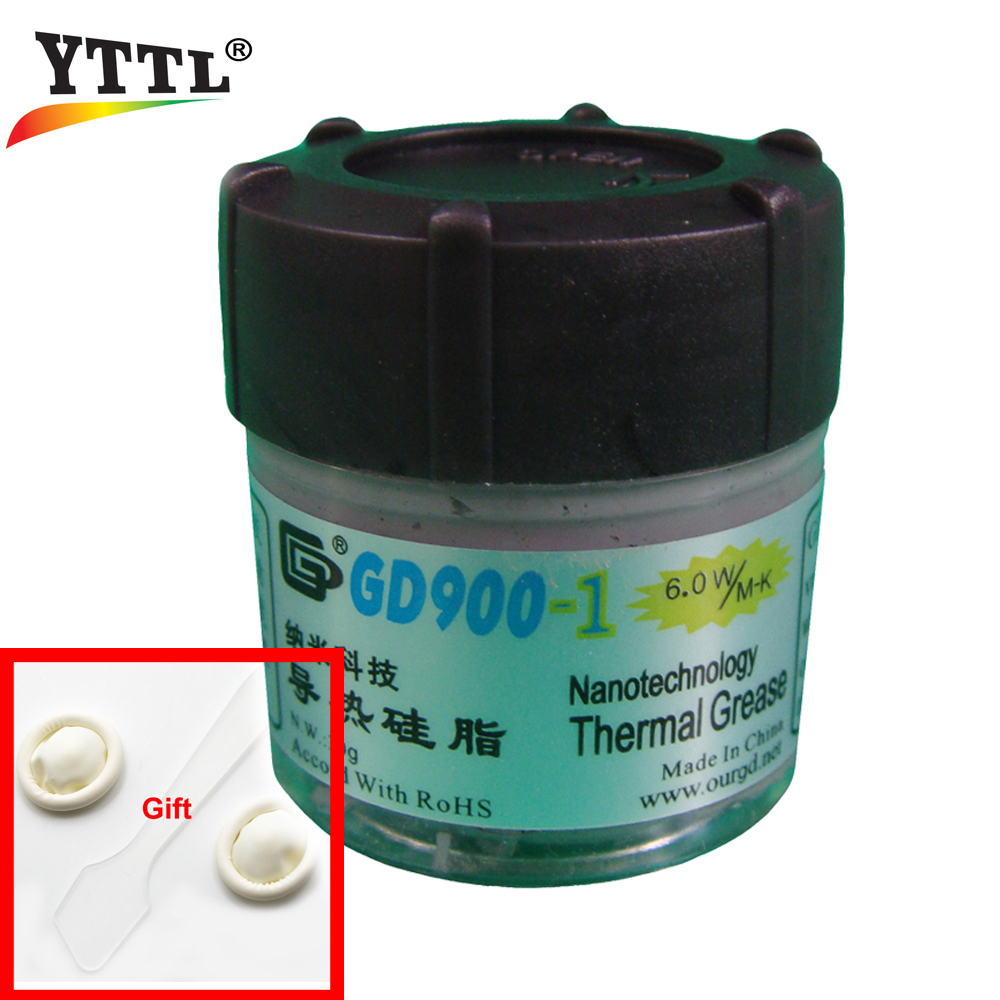 YTTL 30g Gray Nano GD900-1 CPU Containing Silver Thermal Conductivity Grease Paste Silicone Heat Sink Compound 6.0W/M-K high conductivity thermal heatsinks grease paste tin 20g heat dissipation silicone fluid in bulk cooling cooler for computer cpu
