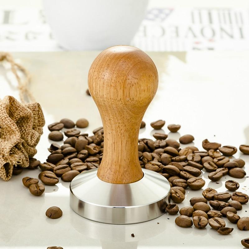 Wooden Coffee Tamper 58mm Barista Espresso Base Coffee Bean Press Stainless Steel Flat Base Professional Coffee Bean Press