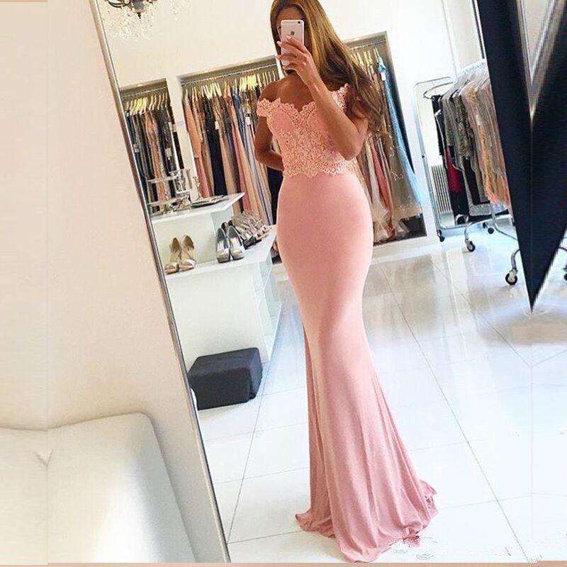Simple Pink   Prom     Dresses   2019 Off The Shoulder Satin Appliqued Evening   Dresses   Robe De Soiree Customized Party   Dress   Cheap