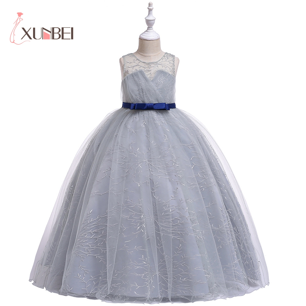 Princess Floor Length Lace   Flower     Girl     Dresses   2019 Big Sash Red Gray   Girls   Pageant   Dresses   First Communion   Dresses