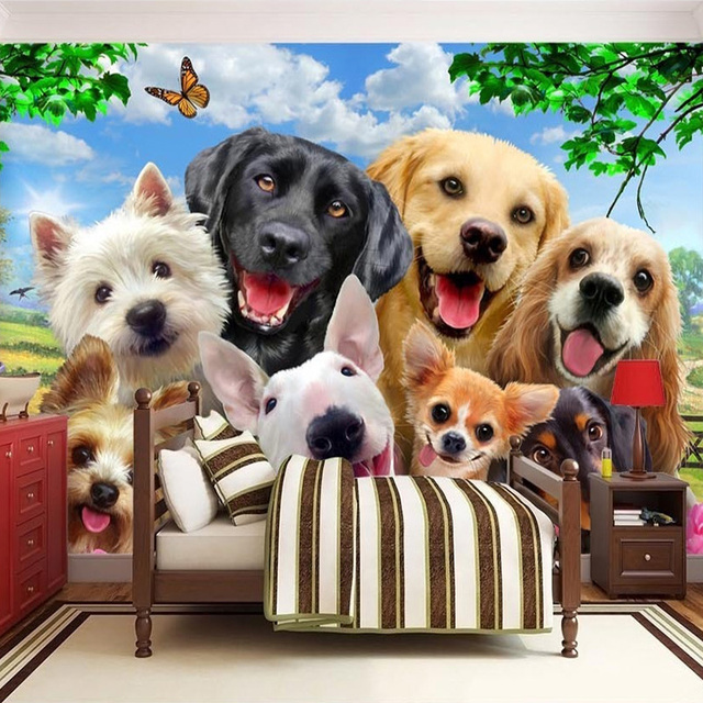 3D Cute Dogs Wallpaper For Kids Room-Free Shipping