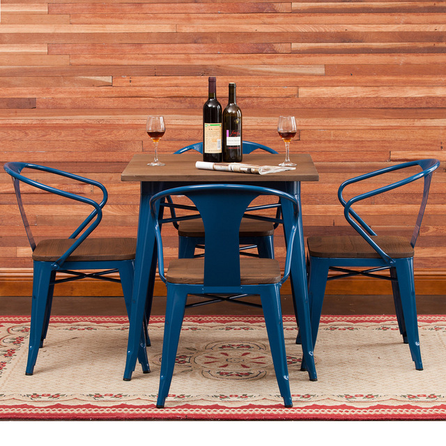 Wholesale Iron Wood Snack Dessert Cafe Bar Chairs Leisure Tea Table And  Chairs Combination Of Retro