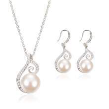 New fashion Rhinestone Simulated Pearl Necklace Earrings Wedding Banquet Package Jewelry Sets Bride Gift