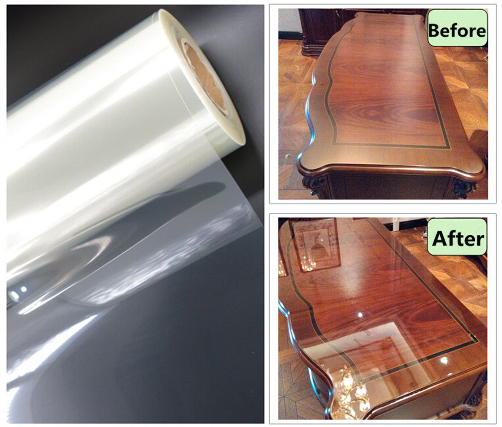 Large: pi Longueur 10ft (100 cm x 300 cm) Transparent Table Furnature De Projection Film Brillant PET Protection Film Résistance À La Chaleur