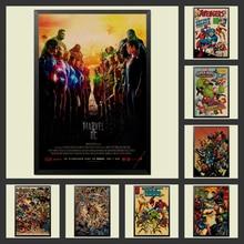 Póster de superhéroe Marvel Comics vengadores. Spider-Man postre Batman carteles vintage decoración kraft cartel de papel de etiqueta de la pared