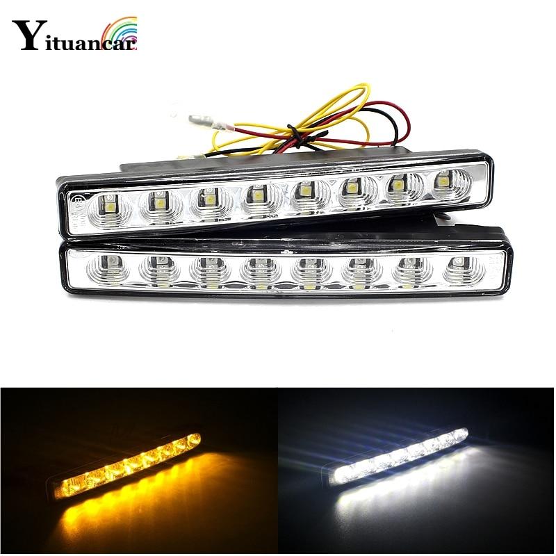 Yituancar 2Pcs/Set 10W 2X8 Led Auto Fog Lamp Front Turn Signals Car Light Source Waterproof DC12V DRL Daytime Running Light