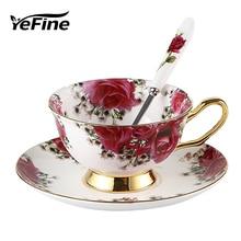 YeFine, керамические чашки для чая и блюдца, чашка для кофе из костяного фарфора с поддоном, фарфоровая посуда для напитков, набор, Прямая поставка