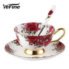YeFine Ceramic Afternoon Black Tea Cups And Saucers Bone China Coffee Cup With Tray Porcelain Drinkware Set Birthday Gift