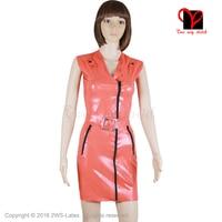 Latex dress Rubber Shirt Clothes Pencil tank Mini vest Belt v neck top jacket Gummi Playsuit Bodycon plus size XXXL