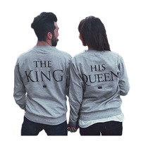 HALIFE New Letter Print King Queen Couple Clothes King And Queen Tops Long Sleeve T Shirt