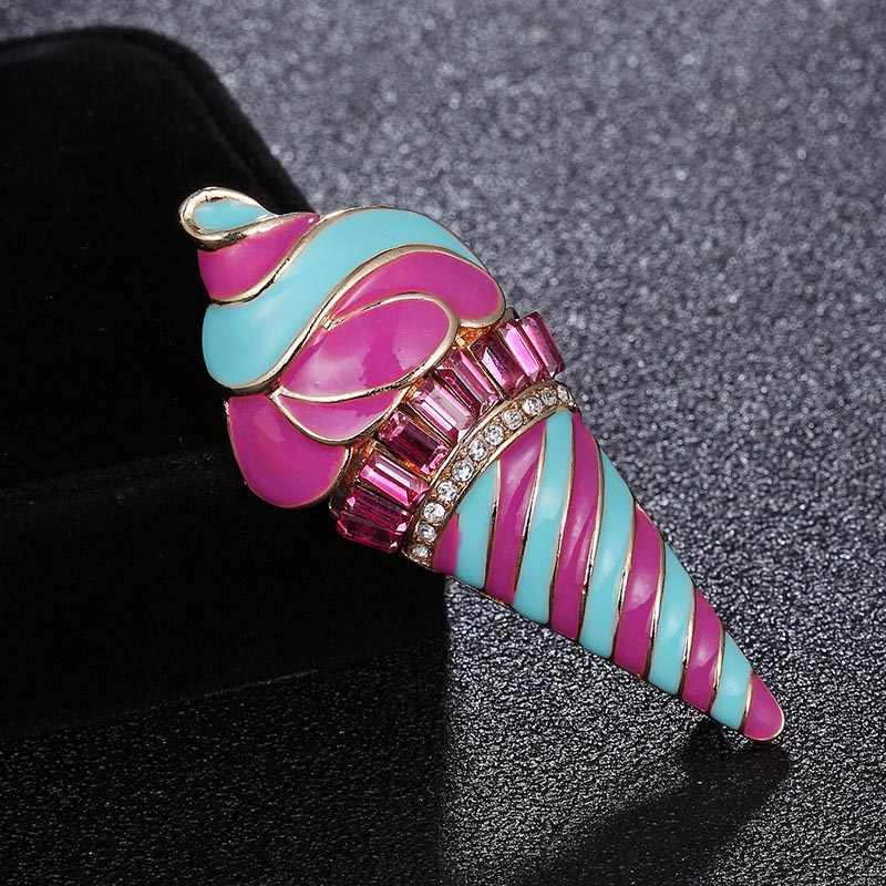 Zlxgirl ジュエリーファッションピンクエナメルアイスクリームブローチ女性子供のためのバッジ夏小型ドレス襟クリップラペルピン joyas